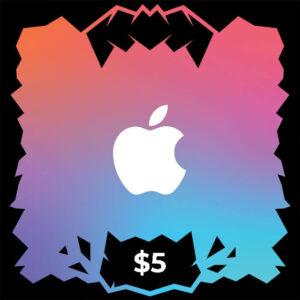 گیفت کارت آیتونز و اپل موزیک ۵ دلاری